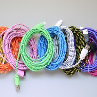 10 Ft. Bungee iPhone Cables for iPhone 4, 5, 6