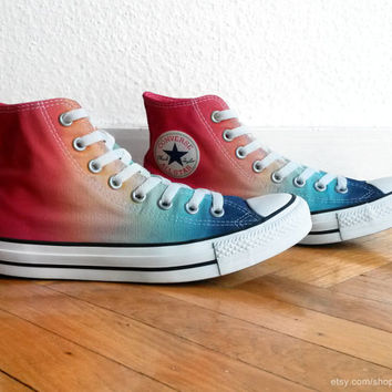 Multi-colour ombre Converse, dip dye upcycled vintage sneakers, All Stars high tops, Chucks, eu 41 (uk 7.5, us wo 9.5, us men's 7.5)
