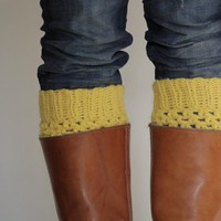 Crochet Boot Cuffs In Mustard Yello.. on Luulla