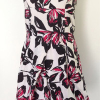 Bubble Poof 80s Strapless Party Dress.  White with black and hot pink floral.  Cotton stretch blend, L