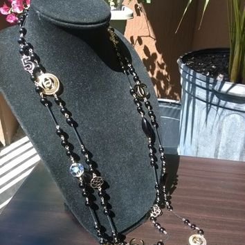 """Beautiful 76"""" Designer Inspired Pearl & Charm Necklace"""