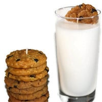 Cookies and Milk Candles - Chocolate Chip Cookie Candle Set  - Large