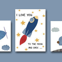 "Art for Children,Kids Wall Art,Baby Boy Room Decor,Nursery print,set of 3 8"" x 10"" Print,car,rocket,giraffe,plane,monkey,blue,bear"
