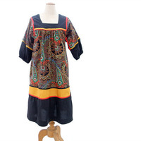 Vintage 70s Ethnic Dress Colorful Red Gold Black Paisley Medium Large