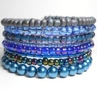 Stacked Bracelet Blue and Grey Memory Wire Beaded Wrap