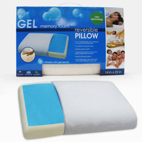 Memory Foam Pillow With Cooling Gel In White And Blue - Beyond the Rack