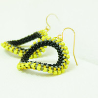 Urban chic hoop earrings. Neon yellow grey black  Modern jewelry  steampunk  inspired