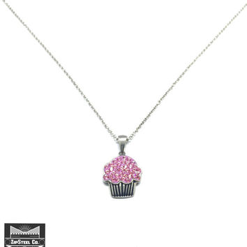 Stainless Steel Cupcake Necklace