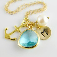 Gold Sea Anchor Necklace Wedding Bridesmaids Gift,Monogram Necklace