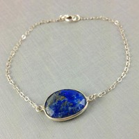 Lapis Lazuli Bracelet Bezel Set Gemstone Bracelet, Unique Bracelet, Gift For Her, Sterling Silver Bracelet, Natural, Mothers Day, Birthday