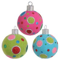RAZ Glittered Flocked Multicolor Ball Christmas Ornament Set of 3
