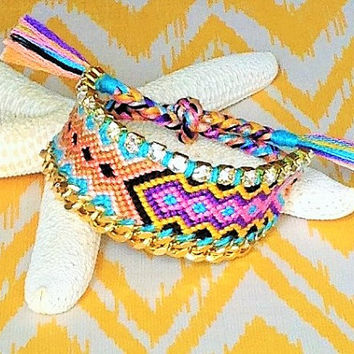Tribal Friendship Bracelet with Rhinestones and Gold-Plated Chain