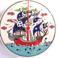 Wall Clock with Galleon, See ,Fishes and Birds Anatolian Patterns, Ceramic Turkish tile.2012