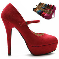 ollio Womens Pumps Platform Fuax-Suede Mary Jane High Heels Multi Colored Shoes