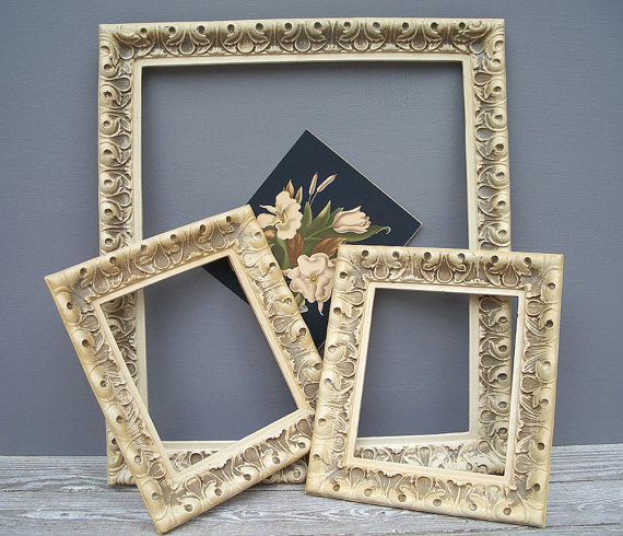 vintage picture frames 1940s 1950s set of 3 by KatyBitsandPieces