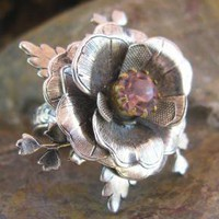 Silver Flower Ring with Rose Stone Center