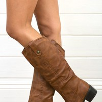 Wild Diva Merry05 Cognac Button Flap Flat Riding Boots and Shop Boots at MakeMeChic.com