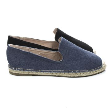 Saturday35X Espadrille Rope Heel Round Toe Slip On Flats