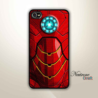 iPhone 4 Hard Case - Iron Man Body Armor Reactor - Phone Cover Iphone 4  ( Black / white Color Case )
