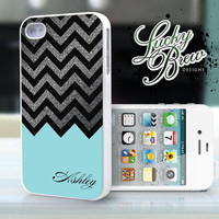 iPhone 4 4s Hard Case - Chevron Silver Blue Teal Turquoise Personalized - Phone Cover IP4