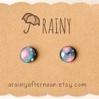 Pink and Teal Galaxy Post Earrings