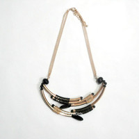 Ship Now:  Tribal Necklace, Egyptian Necklace, Gold and Black Necklace, Chain Bib Necklace, Chunky Beaded Necklace