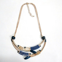 Ship Now:  Tribal Necklace, Egyptian Necklace, Gold and BlueNecklace, Chain Bib Necklace, Chunky Beaded Necklace