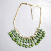 Ship Now:  Anthropologie Inspired, Green Beaded Necklace, JCrew Inspired, Green Necklace, Bridesmaids Necklace,  Rhinestones