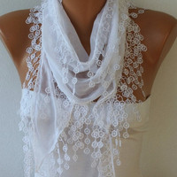 White Scarf Cotton  Scarf -  Shawl - Cowl Scarf with Lace Edge   - White Scarf - fatwoman - Bridesmaids Gifts