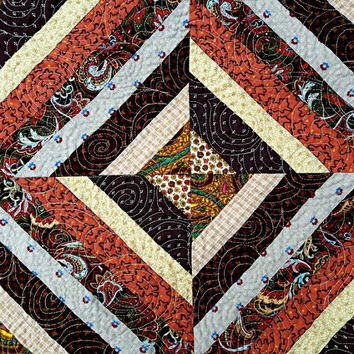 "Quilted String Tablerunner, Table Topper, Centerpiece Mat, Tablecloth – Shades of Brown, Rust, Tan, Orange and Gold – 23-1/2"" x 23-1/2"""