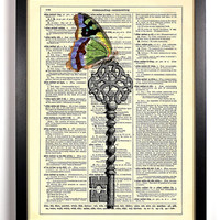 Skeleton Key With Butterfly Repurposed Book Upcycled Dictionary Art Vintage Book Print Recycled Vintage Dictionary Page  Buy 2 Get 1 FREE