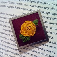 Hand Embroidered Silk Ribbon Rose Brooch/Pin by BeanTownEmbroidery