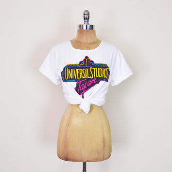 Vintage 80s 90s White Universal Studios Hollywood Japan Tourist T-Shirt Tshirt Top Oversize Tie Waist Crop T-Shirt Crop Top S Small M Medium