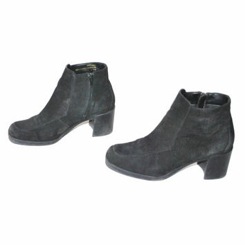size 8.5 PLATFORM ankle boots vintage 80s 90s MINIMAL black suede CHUNKY heel classic zip up booties