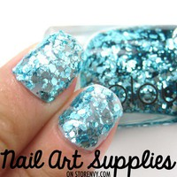 Blue Mermaid - Turquoise Cyan Blue Glitter Nail Polish Lacquer 9.8ml from nailartsupplies