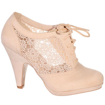 Nude Lovely in Lace Oxford Bootie