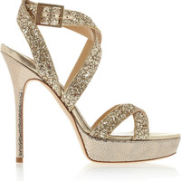 Jimmy Choo | Hawk glitter-finished leather platform sandals | NET-A-PORTER.COM