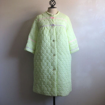 Vintage 1960s Peignoir Set Citrus Green Lace Chiffon Night Dress and Jacket Large