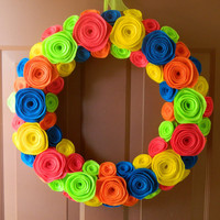 Bright Neon Wreath in Neon Blue, Neon Green, Yellow, Orange, and Shocking Pink - 18 inch