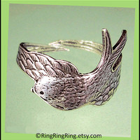Bird Wing Ring - adjustable antiqued silver ring jewelry, Gift for girlfriend  091112