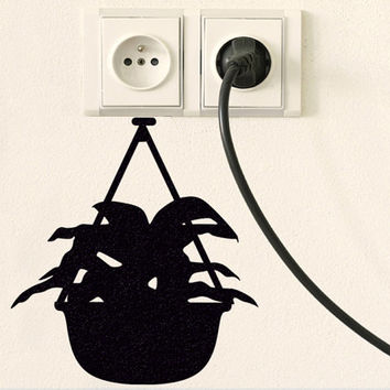 Hanging Plant Fabric Decor - Plant Pot Black Wall Decal - Kitchen Window Decor
