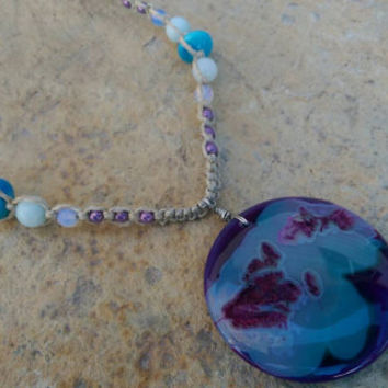 Unique Druzy Agate Hemp Necklace, Summer Jewelry Fashion, Gift, Czech Glass Beads, Opalite, Free Shipping in USA