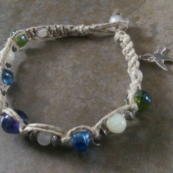 Pastel Glass Beaded Hemp Anklet, Swallow Charm, Summer Jewelry, Naturally Beautiful, Hemp Jewelry, Gift, Free Shipping in USA