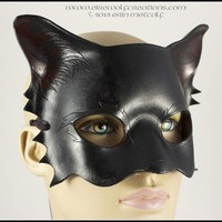 Black Cat mask handmade leather Halloween masquerade kitty costume