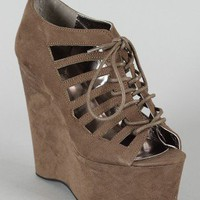 Michelle-2A Cut Out Lace Up Platform Wedge
