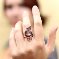 Forged Copper Ginkgo Leaf Ring, TAGT