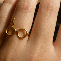 Harry Potter. Lightning glasses.Silver gold plated 18K ring.
