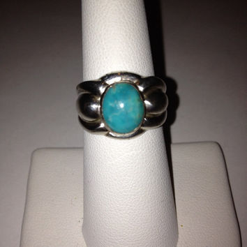 Turquoise Sterling Ring Sz 7 Silver 925 Signet Cocktail Southwestern Vintage Jewelry Birthday Anniversary Promise Holiday Prom Mother's Gift