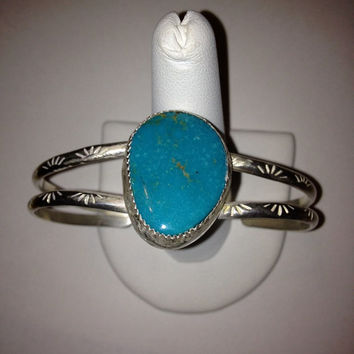 Navajo Sleeping Beauty Turquoise Cuff Bracelet Sterling Silver 925 Blue Vintage Southwestern Tribal Valentine's Birthday Mother's Gift