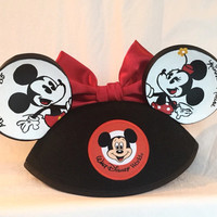 Mickey and Minnie Mouse Inspired Hand Painted Disney Ear Hat with Red Bow